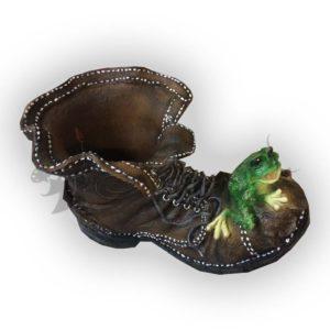 Форма силиконовая для изготовления декоративного кашпо башмак с лягушкой