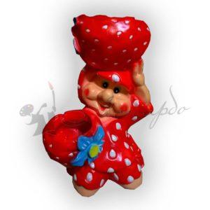 Форма силиконовая для изготовления декоративного кашпо девочка клубничка