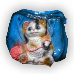 Форма силиконовая для изготовления декоративного кашпо кот с клубком