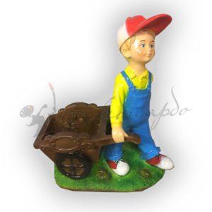 Форма силиконовая для самостоятельного изготовления кашпо мальчик с тележкой.