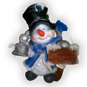 Форма для изготовления новогодней фигуры Снеговик с колокольчиком