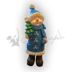 Фигура для сада Снеговик с елкой