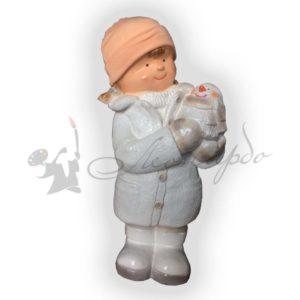 Форма силиконовая для изготовления новогодней фигуры девочка со снеговиком