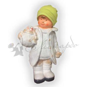 Форма силиконовая для изготовления новогодней фигуры Мальчик со снеговиком