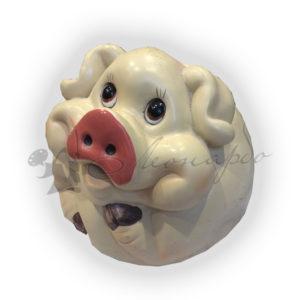 Форма силиконовая для изготовления декоративной фигурки (копилки) свинка круглая копилка