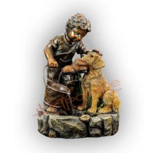 Форма силиконовая для изготовления декоративного фонтана мальчик с щенком