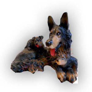 Форма силиконовая для изготовления садовой фигуры овчарка с щенками