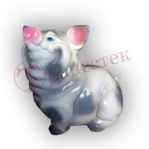 Форма силиконовая для изготовления копилки довольная свинка