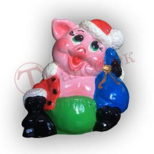 Форма силиконовая для изготовления копилки свинка новогодняя