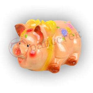 Форма силиконовая для изготовления копилки свинка с бантиком