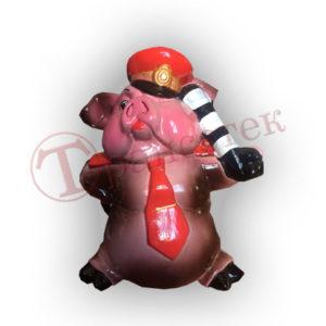 Форма силиконовая для изготовления фигурки (копилки) свинка гаишник