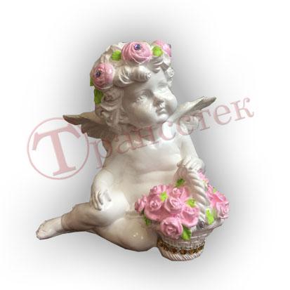 Форма силиконовая для гипсовой фигурки ангелок с корзинкой роз