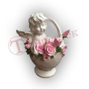 Форма силиконовая для изготовления ангелочка в корзине с розами