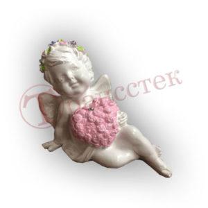 Форма для гипсовой фигурки ангел с букетов в виде сердца из роз